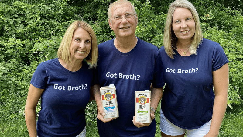 Sisters Kim and Sue with Dad working to get Brutus Broth in big bix retailers