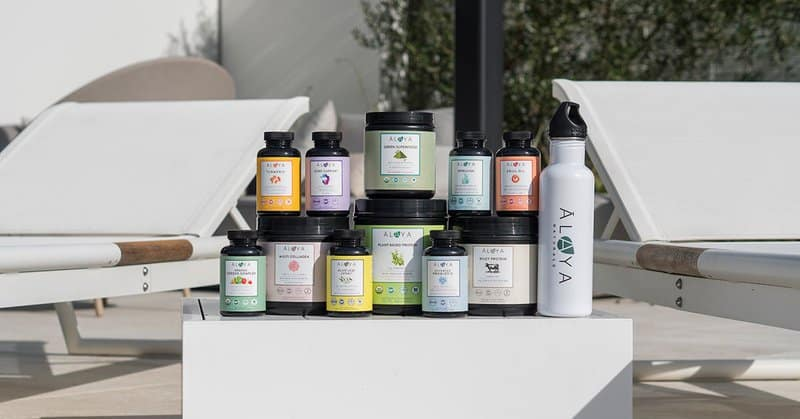 A line of Alaya Naturals super foods - all sustainable manufacturing compliant